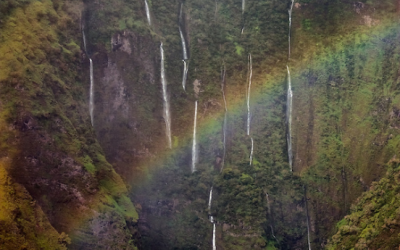 Photo~Zen: Wall of Tears Waterfall with Rainbow – Pictures of Maui, Hawaii